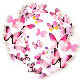 Wholesale christmas wall decorations for glass - 12pc Vivid Pink Butterfly Mural Decor Removable Wall Stickers with Adhesive Decals Nursery Decoration 3D Crafts for DIY Christmas Wedding