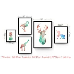 Wholesale kids canvas art animals - Watercolor Geometric Animals Abstract Canvas Art Print Painting Poster, Giclee Print Wall Pictures For Living Room Kids Room