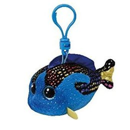 "Wholesale Fish Beanies - Ty Beanie Boos 4"" 10cm AQUA Blue Fish Clip Keychain Plush Stuffed Animal Collectible Doll Toy"