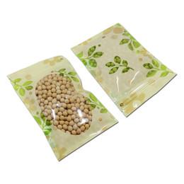 Wholesale dried fruit tea - 150Pcs Clear Window Plastic Ziplock Bag Leaf Print Food Packing Pouch Dried Fruits Flower Tea Nut Bean Package Resealable Zipper