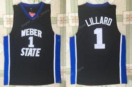 Camisetas baratas de Lillard College Weber State 0 Damian Lillard Jersey Hombres Negro Para los fanáticos del deporte Uniformes de baloncesto Todo cosido y bordado desde fabricantes