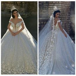 2019 elástico de cetim vestido de bola vestidos de noiva 2019 Lace Apliques Fora Do Ombro vestido De Baile De Lantejoulas Vestidos de Casamento Vestidos De Noiva Formal Vestidos De Mariage Jardim Princesa Sexy Backless