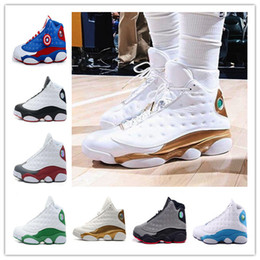 Wholesale Cat Bands - hot 2018 vapormax Mens Basketball Shoes 13 Bred Black True Red History Of Flight DMP Discount Sports Shoe Women Sneakers 13s Black Cat