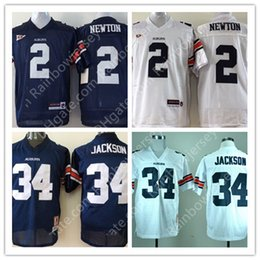 Wholesale Newton S - Men Youth Auburn Tigers College Football Jerseys #2 Cam Newton #34 Bo Jackson Throwback Stitched Kids Navy Blue White Jerseys S-3XL