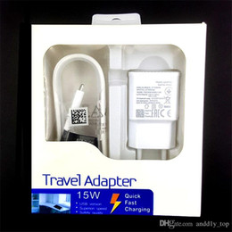 Wholesale Wall Charger Box - 2 in 1 15W adaptive 100% Fast Charging US EU Travel Wall Charger + 1.5M Micro Usb Cable For Samsung S6 S7 Edge Note 4 5 With box