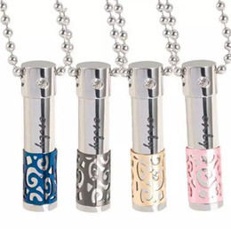 Wholesale Diamond Pendant Wholesale - Essential Oils Perfume Bottle Crystal Diamond Necklace 316L Titanium Lovers Oil Bottle Diffuser Locket Pendant Can be Opened Hollow Pendants