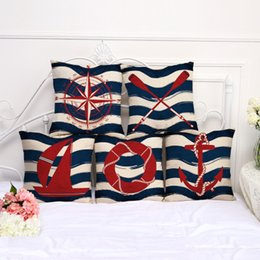 Wholesale modern swimming - 45*45cm Modern minimalist Mediterranean wind cotton sofa pillow pillow sleeve swim ring striped window cover pillowcase