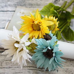 Wholesale Plastic Household Products - Silk sunflower Bride bouquet for home Party Wedding christmas vases decora household products Artificial plastic Flower