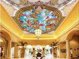 Wholesale Mural Definition - European-style high-definition relief carved ceiling series of murals non-woven Wallpaper Ceiling