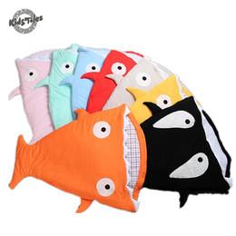 Wholesale Kids Animal Sleeping Bags - Kids Tales envelope newborn shark sleeping bag for winter use baby swaddle blanket wrap cute cartoon infantil sleep bag bedding