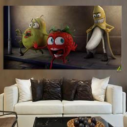 Wholesale Cute Banana Cartoon - YWDECOR Cute Banana Stalker Fruit People Canvas Painting Custom Digital Prints on Canvas Kids Room Living Room Sofa Home Decor