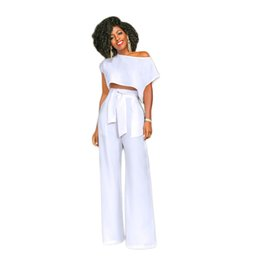 Wholesale wide leg pants jumpsuits - Women Summer New Arrival 2018 Sexy Fashion Casual Party Long Pants Wide Leg Loose African Rompers Jumpsuits Two Piece Set 200721