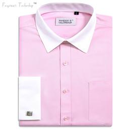 camisa de manga larga con cuello rosa Rebajas Los hombres de hierro no  francés del contraste 5ddaf156669