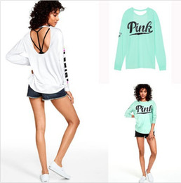 Wholesale Womens Long Sleeve White Shirts - Womens Spring T-shirts Casual Long Sleeved Tops pink Letters Printed Backless Tees Female Tshirts Vestidoes