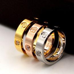 All'ingrosso acciaio al titanio croce anelli oro rosa amore anelli argento amante anello vite matrimonio cz pietre gioielli regalo di compleanno da pietra di compleanno all'ingrosso fornitori