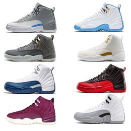 low priced fcc15 5a791 2018 economici 12 scarpe da basket uomo Nylon nero Taxi the master lupo grigio  gamma blu playoff sneakers in lana bianca