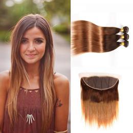 Zwei tonfarben ombre glattes haar online-Straight Ombre Colored Hair 3 Bundles mit 13x4 Lace Frontal # 4/30 Two Tone Ombre-Farben Brasilianisch-peruanische malaysische Menschenhaar-Gewebe