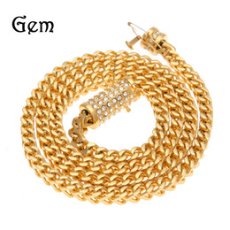 Wholesale Fishbone Chain - Men Fishbone Cuban Miami Chain Necklace Stainless steel Rhinestone Clasp Iced Out Gold Silver Hip hop casting Franco Necklace