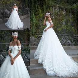 Wholesale full corset sweetheart dress - 2018 Milla Nova Arabic A Line Wedding Dresses Sweetheart Full Lace Applique Beaded Sash Corset Backless Court Train Plus Size Bridal Gowns