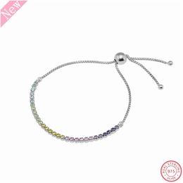 Fascette di gioielli a più strati online-Braccialetti con filo scintillante multicolore in argento sterling 925 per gioielli donna effetto arcobaleno con chiusura regolabile Bolo FLB030D