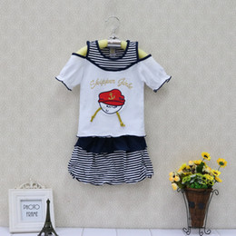 Wholesale 18 Month Christmas Outfit - Baby clothes girl Kids Clothing summer dress Children's dress Outfits christmas kidswear apparel fashion navy style skirt Sets newborn gifts