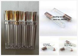 tubos acrílicos transparentes Desconto 8 ml de forma quadrada transparente gloss / tubo de creme de cor lábio bálsamo tubo ou batom com ouro / prata top rolha de plástico dentro