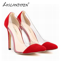 79fd1d5aab0 LOSLANDIFEN Flock Thin Heels Women Pumps Sexy Women s Pointed Toe Velvet  High Heels Dress Shoes Woman Party Pump 302-27VE