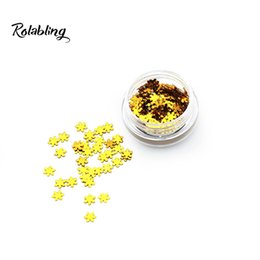 Wholesale fine nail glitter powder - Rolabling NEW Fashion Trend Golden Snonwflake Art Powder Nail Glitter Dust For Colorful Effect Of Shinny Colors Fine Glitter