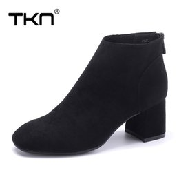 931e0f89e77 botas de tobillo plateado negro Rebajas TKN mujer botas de tobillo de  invierno zapatos de gamuza