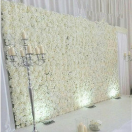 Wholesale free rose background - 10pcs lot Artificial Milk White silk rose and peony flower wall wedding background decoration road lead Home Decor Free Shipping