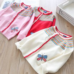 Wholesale cardigan butterfly knitted - Autumn new children cardigan girls rainbow stripes knitted sweater kids Butterflies embroidered outwear girls casual cardigan A00472