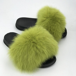 cb9bf9d29e3 Real Raccoon Fur Slippers Women 2018 Sliders Casual Fox Hair Flat Fluffy  Fashion Home Summer Big Size 45 Furry Flip Flops Shoes