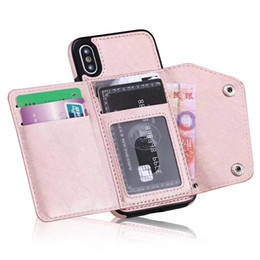 Wholesale Silicone Id Card Holder - Wallet ID Card Slot Leather For Iphone X 8 7 6 6S Plus Galaxy S9 S8 Note 8 Soft TPU Silicone Cash Cases Magnetic Cover+Strap Holder Deluxe