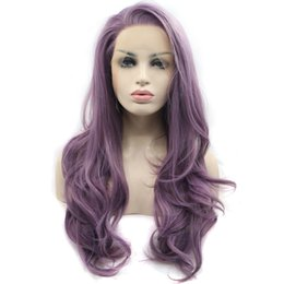 glueless wigs high density Coupons - Sexy Glueless High Temperature Fiber Natural Hairline Hair Wigs Soft Swiss Purple Long Wavy Synthetic Lace Front Wig for Women 180% Density