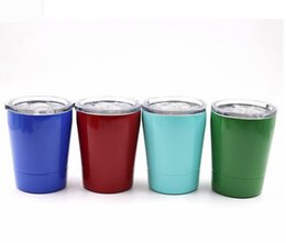 8 COLORS 9oz tumbler wine glasses Vacuum Insulated mug Stainless Steel Lowball with lid with straw 9oz kid mug cup