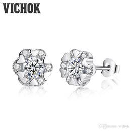 Wholesale Sterling Silver Korean Style Earrings - Korean Style Fashion Snowflake Bling Zircon Earrings Sterling silver 925 jewelry Stud Earrings For Women Girls Gift VICHOK