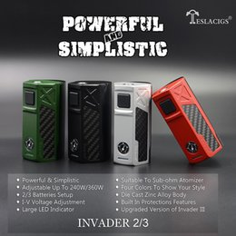 Wholesale V I - Original Tesla Invader 2 3 Box Mod E Cigarette Vape Mods I-V Adjustable Suitable To Sub Ohm Atomizers