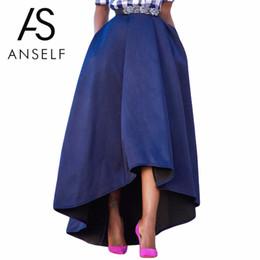 ca9c748f65 ANSELF Autumn Winter Women High Waist High Low Pleated Midi Skirt Solid A Line  Skater Swing Skirt Elegant female School Skirts