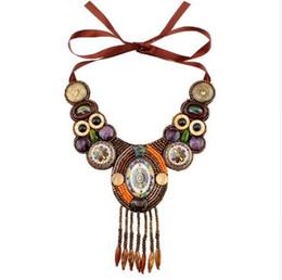 Wholesale tibetan tassel pendants - New Design Fashion Vintage Tibetan Button Big Chunky Statement Bib Bead Tassel Pendant Choker Necklace Collar For Women