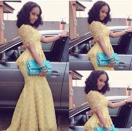 Wholesale Vestido Longo Peplum - Elegant Yellow Lace Mermaid African Fashion Vestido Longo Short Sleeve Floor Length prom Gown Nigeria Style Dresses