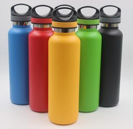 Wholesale metal lids - 600ml 20oz Water Bottle Stainless Steel Vacuum Insulated Bottle Double Walled Keeps Drinks Cold Travel Coffe Sport Bottle