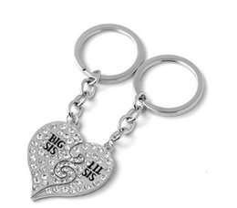 Wholesale Family Breaks - DHL Big Sis Lil Sis Best Sister Forever Broken Heart LOVE Rhinestone Key Ring Key Chain Family Jewelry Gift