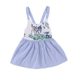 Wholesale cute toddler girls clothes - Mikrdoo Baby Girl Summer Cute Dress Clothes Toddler Sleeveless Strap Bow Backless Cartoon Printing Striped Dresses