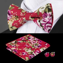 Wholesale steel neck cuff - Fashion BowTie Set Red flower With Handkerchief Cuffs Cotton Print Popular Bow Wedding Casual Bow 2018 New ListingTie LH-601