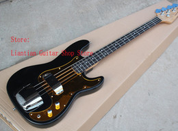 Wholesale Gold Guitar Jazz - Factory custom Top quality Rosewood Fingerboard ,Gold Pickguard 4 strings black Jazz Bass Guitar with chrome hardware -17-12