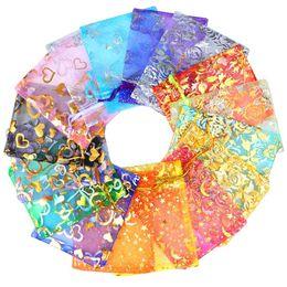 Sacs organza à motif en Ligne-Chanfar 500 pcs 9x12 cm Organza Sacs Bijoux Faveurs De Mariage Parti Motif Imprimé Dessins Emballage Emballage Cadeau Pochettes