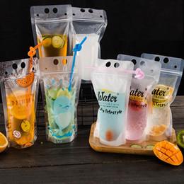 Bolsas de almacenamiento selladas online-400 ml DIY transparente autoadhesivo bolsa de bebidas de plástico de verano envase de bebida bolsa de beber jugo de frutas organización de almacenamiento de alimentos HH7-1069