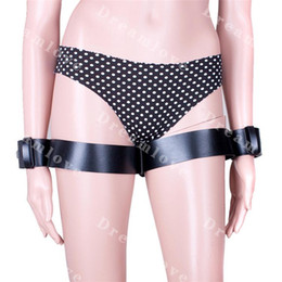 Wholesale Wrist Thigh Restraint - Adult products hot sexy Heavy Duty PU Leather Bondage Wrist to Thigh Cuffs Lockable Restraint Set