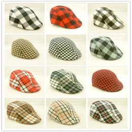 Wholesale wholesale baby beret - Children Boys Girls gird Beret Cap kids classic lattice Hats Cotton baby Sun Caps C4551