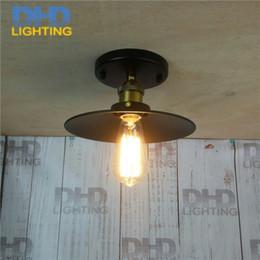 Wholesale Design Vintage Bulbs - Loft Vintage Ceiling Lamp Round Retro Ceiling Light Industrial Design Edison Bulb Antique Lampshade Ambilight Lighting Fixture